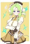 1girl black_headwear blue_eyes blush border breasts cosplay cowboy_shot detached_sleeves diana_cavendish eyebrows_visible_through_hair fingerless_gloves gloves hys-d light_green_hair little_witch_academia looking_at_viewer mahou_shoujo_madoka_magica medium_breasts multicolored_hair puffy_short_sleeves puffy_sleeves shirt short_sleeves solo thigh-highs tomoe_mami tomoe_mami_(cosplay) translation_request two-tone_hair white_border white_shirt yellow_background zettai_ryouiki