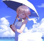 1girl :d ^_^ bangs blonde_hair blue_sky blush brooch clarice_(idolmaster) closed_eyes closed_eyes clouds day dress evolvingmonkey hair_bun hair_up hands_together hands_up highres holding holding_umbrella idolmaster idolmaster_cinderella_girls jewelry long_hair ocean open_mouth outdoors parasol red_brooch sidelockshair_between_eyes sky sleeveless sleeveless_dress smile solo umbrella white_dress white_umbrella wind wind_lift