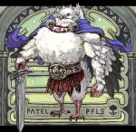 1boy belt bird_man blue_cape blue_eyes cape character_name copyright_name full_body green_background highres looking_at_viewer norihiro_(tsu-mukimuki) patel_(pixiv_fantasia_last_saga) pixiv_fantasia pixiv_fantasia_last_saga solo standing sword weapon