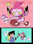 1boy :q :t ame_(ame025) ash_ketchum bangs black_gloves black_hair bottle chocolate closed_eyes closed_mouth collared_jacket cooking dated doughnut eating fingerless_gloves food food_on_face gen_1_pokemon gen_6_pokemon gloves holding holding_food hoopa hoopa_(confined) jacket male_focus milk_bottle mixing mixing_bowl moomoo_milk mythical_pokemon pikachu pokemon pokemon_(anime) pokemon_(creature) pokemon_xy_(anime) popped_collar short_hair short_sleeves smile sparkle symbol_commentary tongue tongue_out