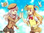 2girls :d bangs beret black_skirt blonde_hair blue_ribbon bow bowtie brown_shirt commentary_request crossover eyebrows_visible_through_hair fate/kaleid_liner_prisma_illya fate_(series) green_eyes grey_hair hair_between_eyes hair_ribbon hat heterochromia high_five illyasviel_von_einzbern kurarin long_hair long_sleeves looking_at_another lyrical_nanoha magical_ruby mahou_shoujo_lyrical_nanoha_vivid multiple_girls open_mouth red_eyes red_neckwear ribbon sacred_heart school_uniform shirt short_sleeves skirt smile trait_connection two_side_up upper_teeth vest vivio white_shirt yellow_skirt yellow_vest