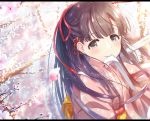 1girl akisaka_yamoka black_eyes black_hair cherry_blossoms eyebrows_visible_through_hair flower hair_flower hair_ornament idolmaster idolmaster_cinderella_girls japanese_clothes kimono kobayakawa_sae long_hair looking_at_viewer mouth_hold pink_kimono red_ribbon ribbon ribbon_in_mouth smile solo tree_branch upper_body white_ribbon