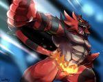 claws creatures_(company) fangs game_freak gen_7_pokemon incineroar muscle nintendo no_humans pokemon pokemon_(anime) pokemon_(creature) pokemon_sm_(anime) red_fur striped tiger