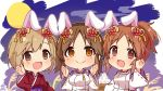 3girls :d abe_nana aiba_yumi animal_ears blush brown_eyes brown_hair chibi closed_mouth dango eyebrows_visible_through_hair flower food full_moon hair_between_eyes hair_flower hair_ornament hands_up high_ponytail idolmaster idolmaster_cinderella_girls japanese_clothes kemonomimi_mode kimono light_brown_hair long_sleeves moon multiple_girls omuretsu open_mouth parted_lips ponytail purple_kimono rabbit_ears red_flower red_kimono ribbon-trimmed_sleeves ribbon_trim smile totoki_airi wagashi wide_sleeves