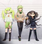 3girls :/ :o antennae arms_at_sides bangs beige_sweater black_clothes black_eyes black_footwear black_hair black_jacket black_legwear black_sweater bow bowtie braid breasts brown_footwear brown_skirt bug closed_mouth clothes_around_waist collared_shirt commentary crossed_arms dress_shirt evolvingmonkey flat_chest full_body grasshopper grasshopper_inoue green_hair green_nails green_neckwear green_sweater grey_eyes grey_skirt hands_on_hips height_chart highres insect insect_girl jacket kneehighs light_smile lineup long_hair looking_at_viewer mantis_akiyama medium_breasts multiple_girls nail_polish open_mouth orange_neckwear original pantyhose parted_bangs plaid plaid_neckwear plaid_skirt pleated_skirt popped_collar praying_mantis red_eyes school_uniform scorpion scorpion_tsuchida sharp_teeth shirt shoes short_hair skirt sleeves_folded_up sleeves_past_wrists sneakers sweater sweater_around_waist teeth thick_eyebrows thigh-highs twintails two_side_up white_shirt wing_collar worms