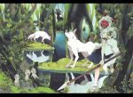 1girl animal antlers bare_arms commentary_request earrings forest fur highres horns jewelry kodama looking_at_viewer marker_(medium) mask mononoke_hime nature necklace san shishigami_(mononoke_hime) studio_ghibli tooth_necklace traditional_media tree umezakura water weapon wolf