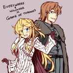 1boy 1girl absurdres blonde_hair blush brown_hair cape coat commentary english_text game_of_thrones gloves highres looking_at_viewer merryweather open_mouth simple_background winter_clothes