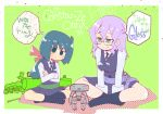 2girls aqua_eyes bangs blue_hair blush breasts character_name checkered constanze_amalie_von_braunschbank-albrechtsberger croix_meridies dress english_text eyebrows_visible_through_hair frustrated glasses green_background green_eyes hair_between_eyes hys-d little_witch_academia long_hair long_sleeves medium_breasts multiple_girls ponytail purple_hair robot sitting smile speech_bubble thought_bubble