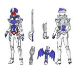 1girl armor armored_boots belt boots breastplate breasts character_sheet commentary english_commentary full_armor full_body gauntlets helmet highres kamen_rider kamen_rider_dcd kamen_rider_kivala medium_breasts pauldrons red_eyes shoulder_armor solo solo_focus tagme weapon white_armor white_background yuuyatails