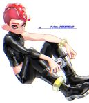1boy black_footwear black_pants boots chromatic_aberration closed_mouth holding long_sleeves looking_at_viewer mimimi_(echonolog) mohawk octarian octoling pants pink_eyes red_eyes redhead short_hair simple_background single_sleeve sitting solo splatoon splatoon_(series) splatoon_2 splatoon_2:_octo_expansion suction_cups tentacle_hair white_background zipper