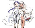 2girls archer-tan bare_shoulders blue_hair bouquet bridal_veil dark_skin dress elbow_gloves fate/stay_night fate_(series) flower gloves halterneck lancer-tan looking_at_another multiple_girls puffy_short_sleeves puffy_sleeves short_shorts short_sleeves shorts shorts_under_dress silver_hair simple_background twintails veil wedding_dress white_background wife_and_wife yuri