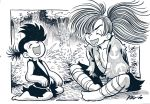 1boy 1girl bandage between_legs bush dororo_(character) dororo_(tezuka) greyscale hand_between_legs highres hyakkimaru_(dororo) indian_style laughing monochrome reverse_trap robiiiiim signature sitting tree wariza