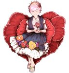 1girl blush bracelet closed_eyes commentary_request facing_viewer fingernails floral_print flower_request full_body grin hair_ornament hands_together heart heart_hair_ornament highres jewelry juliet_sleeves komeiji_satori long_sleeves mefomefo mexican_dress nail_polish necklace oversized_flowers pink_hair pink_nails puffy_sleeves sandals shawl shiny shiny_hair short_hair simple_background sitting smile solo spanish_commentary third_eye tiara toenail_polish touhou traditional_clothes white_background white_footwear