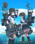 2girls 551 adapted_turret anchor_symbol black_eyes black_hair black_legwear black_sailor_collar black_skirt blue_sailor_collar blue_skirt blue_sky clouds day feet_out_of_frame fubuki_(kantai_collection) full_body gloves gradient_sky highres kantai_collection kneehighs leaning_forward low_ponytail machinery mast mountain multiple_girls outdoors panties pantyshot pleated_skirt ponytail remodel_(kantai_collection) sailor_collar scenery school_uniform serafuku shading_eyes shirayuki_(kantai_collection) short_ponytail sidelocks skirt sky smokestack standing torpedo_launcher twitter_username underwear water white_gloves white_panties