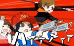 1girl 2boys amada_ken attacking baseball_cap black_hair brown_eyes brown_hair cheering doujima_nanako dress dual_wielding hat hatomugi_gohan holding hood hoodie jacket letterman_jacket multiple_boys oda_shinya parody persona persona_3 persona_4 persona_5 persona_q2:_new_cinema_labyrinth persona_q_(series) polearm spear weapon