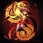 1girl bandage black_cape brown_hair cape casting_spell fire hat highres kono_subarashii_sekai_ni_shukufuku_wo! magic_circle megumin open_mouth phiphi-au-thon red_eyes red_skirt skirt smile staff thigh-highs witch_hat