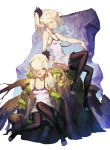 2girls :d absurdres arm_at_side arm_support bare_arms bare_shoulders black_legwear blonde_hair blue_eyes bow breasts cleavage closed_mouth collarbone commentary_request cozy dress elf faux_figurine full_body hair_between_eyes hair_over_one_eye hand_on_own_knee highres long_hair looking_at_viewer moss multiple_girls open_mouth original penis pointy_ears profile purple_bow side_ponytail simple_background sitting sleeveless sleeveless_dress small_breasts smile toeless_legwear white_background white_dress white_hair