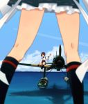 2girls aircraft airplane annin_musou black_legwear black_skirt blue_sky brown_eyes brown_hair brown_skirt clouds commentary_request condensation_trail day e16a_zuiun frilled_skirt frills headband hyuuga_(kantai_collection) ise_(kantai_collection) kantai_collection kneehighs multiple_girls ocean outdoors short_hair sitting skin_tight skirt sky standing undershirt view_between_legs white_headband