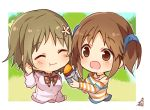 2girls :d :t ^_^ bare_shoulders blue_scrunchie blush brown_eyes brown_hair chibi closed_eyes closed_eyes closed_mouth cropped_torso eating feeding flower food hair_flower hair_ornament hair_scrunchie heart heart_necklace holding holding_food idolmaster idolmaster_cinderella_girls long_sleeves mimura_kanako multiple_girls off_shoulder omuretsu open_mouth scrunchie shirt signature smile striped striped_shirt sweet_potato totoki_airi twintails upper_body white_flower white_shirt yakiimo