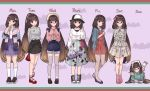 1girl absurdres arms_behind_back bag bow bracelet brown_eyes brown_hair casual crepe cup denim denim_shorts disposable_cup drawing_tablet dress earrings eating fate/grand_order fate_(series) floral_print food glasses hair_bow handbag hane_yuki hat highres jacket_on_shoulders jewelry long_hair lying on_stomach osakabe-hime_(fate/grand_order) ponytail shorts smile stylus thigh-highs very_long_hair