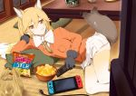 1girl afterimage alternate_legwear animal_ear_fluff animal_ears bag bow bowl bowtie breast_pocket chips coat commentary_request controller eating extra_ears eyebrows_visible_through_hair ezo_red_fox_(kemono_friends) food food_in_mouth fox_ears fox_tail fur_trim game_console gloves gradient_hair gradient_legwear kawayoshi kemono_friends long_hair long_sleeves lying multicolored multicolored_clothes multicolored_hair multicolored_legwear necktie nintendo_switch on_side orange_coat orange_eyes orange_hair orange_legwear orange_neckwear pillow plastic_bag pleated_skirt pocket remote_control skirt solo tail tail_wagging thigh-highs white_hair white_legwear white_neckwear zettai_ryouiki