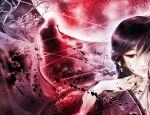 1boy 1girl black_hair earrings facing_viewer hand_up jewelry moon original red_eyes red_moon standing wistaria99