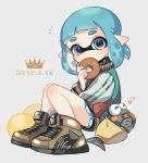 1girl 2019 ^_^ black_shorts blue_eyes blue_hair blush brown_footwear closed_eyes closed_eyes dated domino_mask doughnut eating food full_body heart holding holding_food inkling long_sleeves looking_at_viewer maco_spl mask pointy_ears salmonid shoes short_hair shorts smallfry_(splatoon) splatoon splatoon_(series) splatoon_2 tentacle_hair