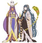 2girls animal_ears bangs blunt_bangs boots cleopatra_(fate/grand_order) cobra earrings fate/grand_order fate_(series) green_hair hairband hakusai_(tiahszld) high_heel_boots high_heels jackal_ears japanese_clothes jewelry kimono long_hair medjed multiple_girls nitocris_(fate/grand_order) obi sash sidelocks snake very_long_hair