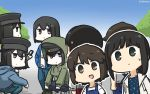 6+girls akitsu_maru_(kantai_collection) alternate_costume artist_logo backpack bag black_eyes black_hair black_headwear blue_dress blue_jacket blue_sky brown_eyes cellphone commentary_request dated denim drawstring dress fubuki_(kantai_collection) gradient_sky green_sweater hamu_koutarou hat highres hood hooded_jacket hooded_sweater hoodie jacket jeans kantai_collection long_hair low_ponytail miyuki_(kantai_collection) multiple_girls multiple_persona overalls pale_skin pants peaked_cap phone ponytail shirt short_hair short_ponytail sidelocks sky sweater white_jacket white_shirt