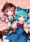 2girls :d animal_ears armband arms_up bird_wings blue_dress blue_eyes blue_hair blush bow bowtie brown_dress brown_headwear cat_ears cirno clenched_hands cowboy_shot dress eyebrows_visible_through_hair fake_animal_ears fang feathered_wings foreshortening hair_between_eyes hair_bow hands_on_another's_shoulders hat head_tilt heart highres leaning_to_the_side long_sleeves looking_at_viewer multiple_girls mystia_lorelei open_mouth outstretched_hand paw_print pinafore_dress pink_background pink_hair puffy_short_sleeves puffy_sleeves red_neckwear ruu_(tksymkw) shirt short_hair short_sleeves simple_background smile touhou violet_eyes white_neckwear white_shirt wings