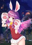 1girl animal_ears arms_up bell blush elin_(tera) feathered_wings gloves jingle_bell long_hair miniskirt outdoors paw_gloves paws pink_wings purple_hair rabbit_ears red_sweater shirt short_sleeves skirt solo sweater sweater_vest tera_online violet_eyes whiskers white_gloves white_shirt white_skirt wings