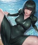 1girl absurdres arm_support bangs breasts closed_mouth collared_dress dress fubuki_(one-punch_man) green_dress green_eyes green_hair highres kimdonga large_breasts lips long_sleeves looking_at_viewer lying on_back one-punch_man partially_submerged revision short_hair spread_legs thighs water wet