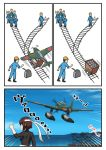 1girl 6+boys aircraft airplane brown_hair comic commentary_request e16a_zuiun highres hyuuga_(kantai_collection) kantai_collection meme minecart multiple_boys railroad_tracks seaplane short_hair smile speed_lines thumbs_up trolley_problem tsukemon undershirt white_headband