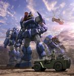 aircraft clenched_hands clouds commentary_request day forest ground_vehicle gun helicopter helmet highres jeep mecha military military_uniform missile_pod morishita_naochika motor_vehicle nature official_art outdoors soltic_h8rf_roundfacer_kolchima_special taiyou_no_kiba_dougram tree uniform weapon