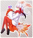 1girl akino_coto bangs bird_tail blunt_bangs feather-trimmed_sleeves fur_collar gloves head_wings heart highres japanese_crested_ibis_(kemono_friends) kemono_friends long_hair multicolored_hair orange_eyes pantyhose pleated_skirt red_gloves red_legwear skirt white_hair