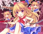 3girls arm_up bare_arms blue_skirt bow chains cherry_blossoms chibi commentary_request cuffs cup enjoy_mix eyebrows_visible_through_hair fang feet_out_of_frame gradient gradient_background hair_between_eyes hair_bow horn_ribbon horns ibuki_suika knees_up layered_skirt long_hair looking_at_viewer low-tied_long_hair minigirl multiple_girls multiple_persona neck_ribbon night night_sky one_eye_closed open_mouth orange_hair outstretched_arms red_eyes red_neckwear ribbon sakazuki shackles shirt sidelocks sitting skirt sky sleeveless sleeveless_shirt spread_arms touhou very_long_hair