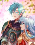 1boy 1girl 2900cm aqua_hair armor blue_eyes blue_hair blush breastplate brother_and_sister cape cherry_blossoms eirika ephraim fire_emblem fire_emblem:_seima_no_kouseki gloves green_hair intelligent_systems jewelry long_hair nintendo open_mouth red_gloves short_hair siblings smile