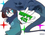 1boy anniversary black_hair blue_eyes bright_pupils dave_strider highres homestuck hood jade_harley john_egbert male_focus rose_lalonde sabisuke_(be) simple_background white_background white_skin