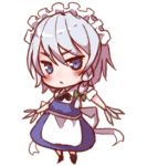 1girl apron bangs black_footwear black_neckwear black_ribbon blue_dress blue_eyes blush boots bow braid commentary_request dress eyebrows_visible_through_hair full_body green_bow hair_between_eyes hair_bow holding holding_knife holding_weapon izayoi_sakuya knife looking_at_viewer lowres maid maid_apron maid_headdress neck_ribbon ribbon shirt short_hair silver_hair simple_background single_braid snozaki solo standing touhou v-shaped_eyebrows waist_apron weapon white_apron white_background white_shirt