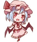 1girl :d ascot bangs bat_wings blue_hair blush commentary_request dress eyebrows_visible_through_hair full_body hat hat_ribbon head_tilt looking_at_viewer lowres mob_cap open_mouth outstretched_arms pink_dress pink_headwear red_eyes red_footwear red_neckwear red_ribbon red_sash remilia_scarlet ribbon sash shoes short_hair simple_background smile snozaki solo standing touhou white_background wings
