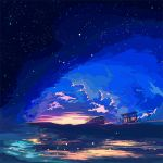 1girl beach berryverrine bicycle bus bus_stop clouds commentary_request ground_vehicle highres landscape ligne_claire motor_vehicle night night_sky original scenery sky star_(sky) starry_sky sunset telescope very_wide_shot water