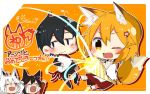 1boy 3girls animal_ear_fluff animal_ears bangs black_hair blonde_hair blush bouquet braid brown_hair business_suit chibi commentary crying flower formal fox_ears fox_tail full_body hair_between_eyes hair_flower hair_ornament japanese_clothes long_sleeves miko multiple_girls nakano_(sewayaki_kitsune_no_senko-san) one_eye_closed open_mouth orange_background oversized_object party_popper rimu-chan_(rimukoro) senko_(sewayaki_kitsune_no_senko-san) sewayaki_kitsune_no_senko-san shirakami_fubuki shirakami_fubuki_(artist) signature skin_fang streaming_tears suit tail tears virtual_youtuber white_hair wide_sleeves yellow_eyes