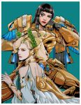 2girls absurdres alternate_costume asp_pharah back bangs bare_shoulders bite_(yaowww0) black_hair blonde_hair blue_eyes blunt_bangs border dark_skin dress egyptian_clothes eyeshadow facial_tattoo gorget green_background head_wings head_wreath highres laurel_crown lips lipstick makeup mechanical_wings mercy_(overwatch) multiple_girls no_headwear no_helmet nose overwatch pharah_(overwatch) power_armor tattoo upper_body white_border white_dress winged_victory_mercy wings yellow_eyes