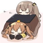 2girls :3 armband bangs black_jacket blush_stickers brown_hair chibi closed_eyes dokumi eyebrows_visible_through_hair food food_on_head fruit girls_frontline hair_ornament hair_ribbon hairclip head_on_table jacket kotatsu long_hair lying mandarin_orange multiple_girls object_on_head on_stomach pink_background ribbon side_ponytail sleeping table twintails ump45_(girls_frontline) ump9_(girls_frontline) white_background