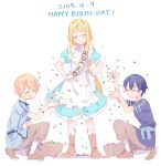 1girl 2boys alice_schuberg apron bcoca black_hair black_shirt blonde_hair blue_dress blue_shirt blush braid braided_ponytail closed_eyes closed_mouth commentary_request confetti dress eugeo eyebrows_visible_through_hair hair_between_eyes hair_ribbon happy_birthday highres kirito kneeling long_hair multiple_boys open_mouth ribbon shirt short_hair simple_background single_braid smile sword_art_online sword_art_online_alicization white_apron white_background white_ribbon
