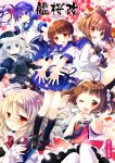 6+girls :d ;d akebono_(kantai_collection) anchor_symbol antenna_hair arm_up bangs bell binoculars black_dress black_footwear black_headwear black_jacket black_legwear black_neckwear blue_eyes blue_ribbon blue_sailor_collar blue_skirt blush bottle bow brown_eyes brown_hair closed_mouth commentary_request cropped_jacket double_bun dress eyebrows_visible_through_hair fingernails floral_background flower frilled_skirt frills garrison_cap hair_bell hair_between_eyes hair_flaps hair_flower hair_ornament hat head_tilt headgear highres holding holding_binoculars holding_bottle jacket jewelry jingle_bell juliet_sleeves kantai_collection kneehighs long_hair long_sleeves looking_at_viewer looking_to_the_side low_twintails mini_hat multiple_girls naka_(kantai_collection) neck_ribbon necktie nose_blush one_eye_closed open_mouth outstretched_arm pale_skin pantyhose parted_lips petals pink_flower pleated_skirt pola_(kantai_collection) puffy_sleeves purple_hair red_bow red_skirt remodel_(kantai_collection) ribbon ring round_teeth sailor_collar sakurazawa_izumi school_uniform serafuku shirayuki_(kantai_collection) shirt shoes short_hair short_sleeves short_twintails side_bun side_ponytail skirt smile speaking_tube_headset teeth thigh-highs tilted_headwear twintails u-511_(kantai_collection) upper_teeth v very_long_hair violet_eyes white_hair white_headwear white_legwear white_sailor_collar white_shirt yukikaze_(kantai_collection)