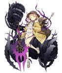1girl backpack bag blonde_hair briar_rose_(sinoalice) flat_chest frills full_body giant_hand hat hip_bones jacket ji_no looking_at_viewer navel off_shoulder official_art one_eye_closed polearm ribbon sandals sinoalice solo stuffed_toy swimsuit tattoo thorns transparent_background trident weapon yellow_eyes