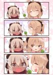 2girls 4koma ahoge black_bow black_scarf bow comic commentary_request dango dark_skin eating fate/grand_order fate_(series) food hair_bow half_updo heart highres holding holding_food japanese_clothes multiple_girls okita_souji_(alter)_(fate) okita_souji_(fate) okita_souji_(fate)_(all) red_scarf scarf skewer suzuki_toto translation_request wagashi white_eyes white_hair