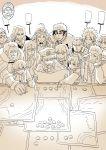 4girls 6+boys ahoge cape character_request cigarette crowded detached_sleeves epaulettes fate/grand_order fate_(series) fujimaru_ritsuka_(male) grin hair_ornament hat highres japanese_clothes jeanne_d'arc_(fate)_(all) julius_caesar_(fate/grand_order) lamppost map marker military military_uniform mo_(kireinamo) monochrome multiple_boys multiple_girls napoleon_bonaparte_(fate/grand_order) necktie oda_nobunaga_(fate) okita_souji_(fate)_(all) qin_shi_huang_(fate/grand_order) rider_(fate/zero) smile table tokin_hat uniform ushiwakamaru_(fate/grand_order) vlad_iii_(fate/apocrypha)