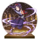 1girl ahoge boots brown_footwear floating_hair hairband hakama highres holding holding_sword holding_weapon jacket japanese_clothes leg_up long_hair long_sleeves looking_at_viewer official_art pointy_ears purple_hair purple_hakama purple_jacket red_eyes red_hairband solo sword sword_art_online transparent_background very_long_hair weapon yuuki_(sao)